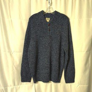 L.L. Bean Mens L 3 Button Henley Blu Sweater Wool